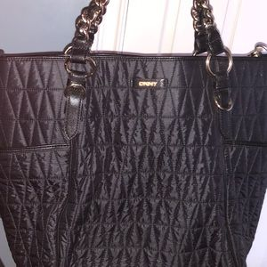 New DKNY Nylon black quilted Tote gold chain large